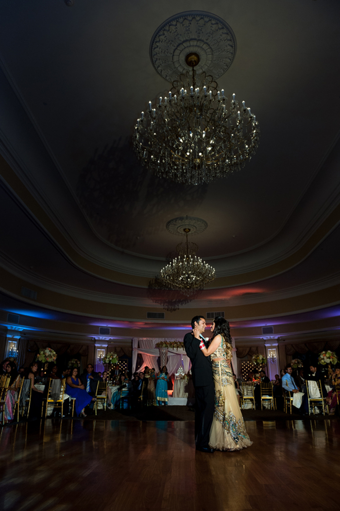 Bride and groom's first dance at an Indian wedding