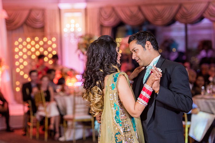 Bride and groom first dance photo at an Indian wedding