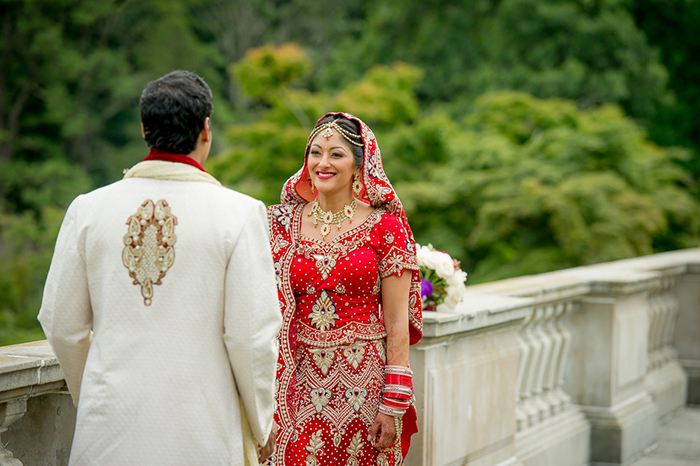 Gorgeous first look for a castle estate Indian wedding