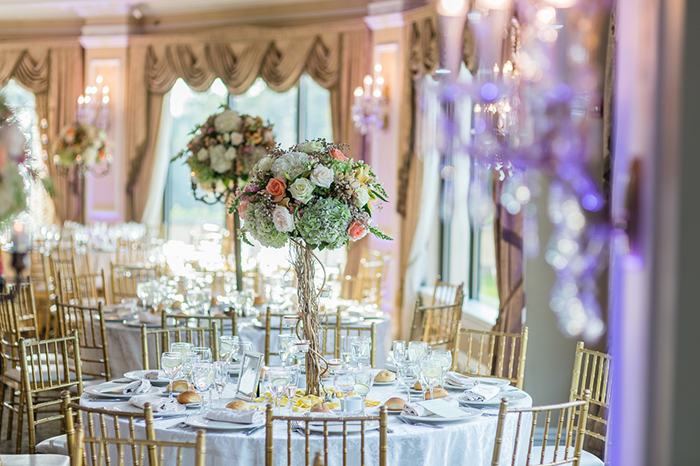Gorgeous wedding reception inside of a castle. Gorgeous!