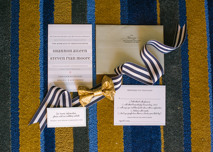 Blue white and gold wedding