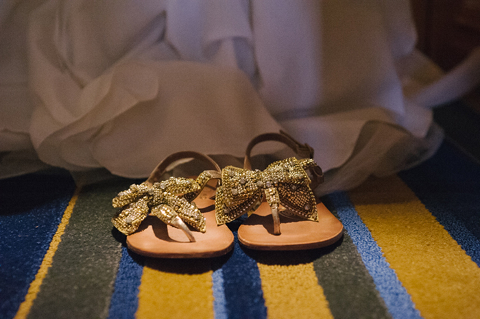 Simple gold bridal sandals