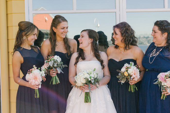 Navy blue and gold bridesmaids look