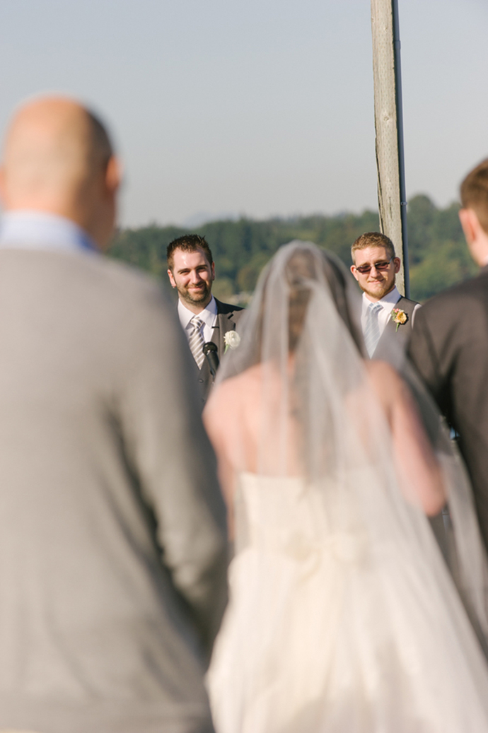 The groom seeing his bride at the ceremony!