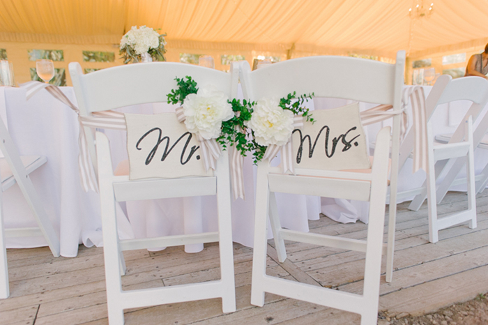 Adorable mr and mrs wedding chair signs