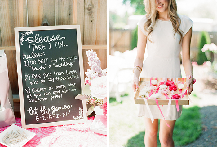 Pink backyard bridal shower by Connie Dai. Fun pin game!