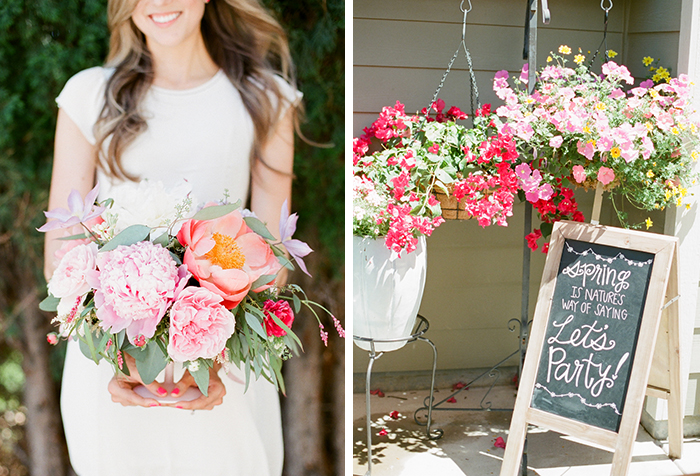 Pink backyard bridal shower by Connie Dai. Lovely springtime decor!