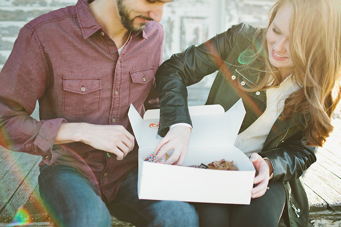Engagement photos and donuts. A match made in heaven!
