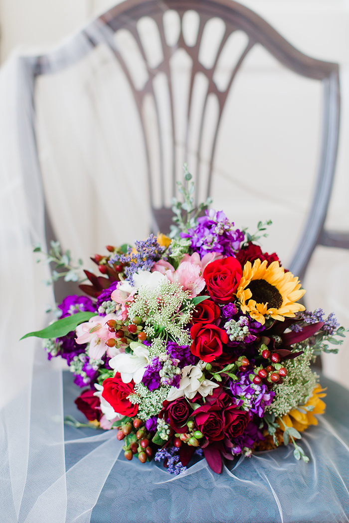 Bright wildflowers wedding bouquet