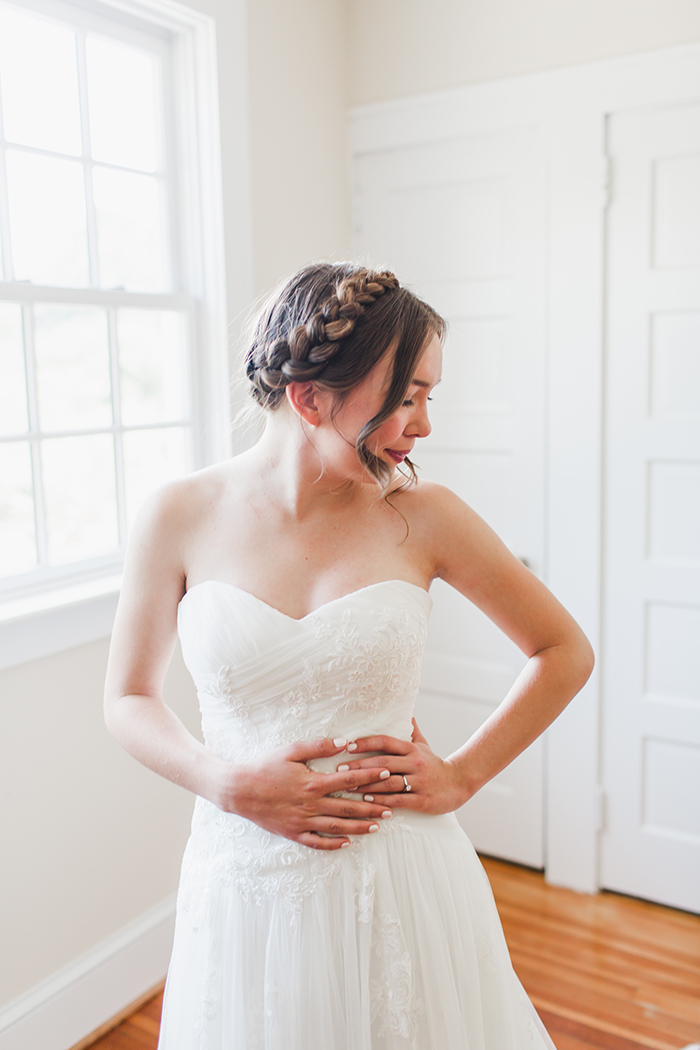 Lovely bride hairstyle milkmaid braids