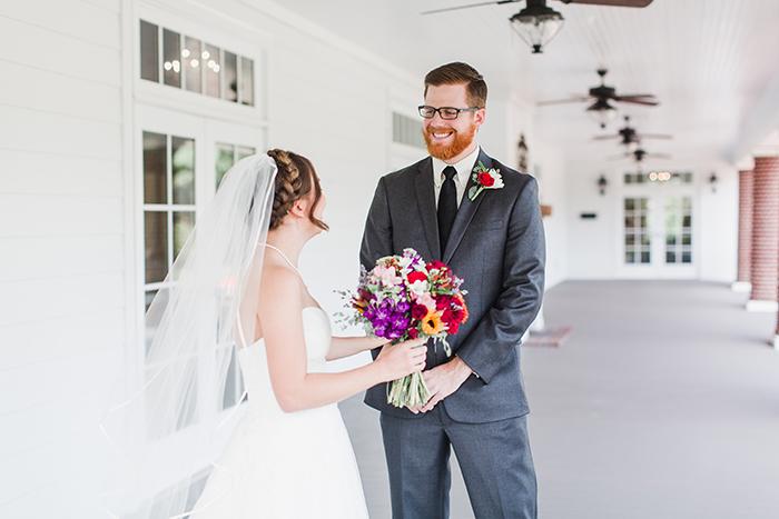 Lovely summer wedding first look