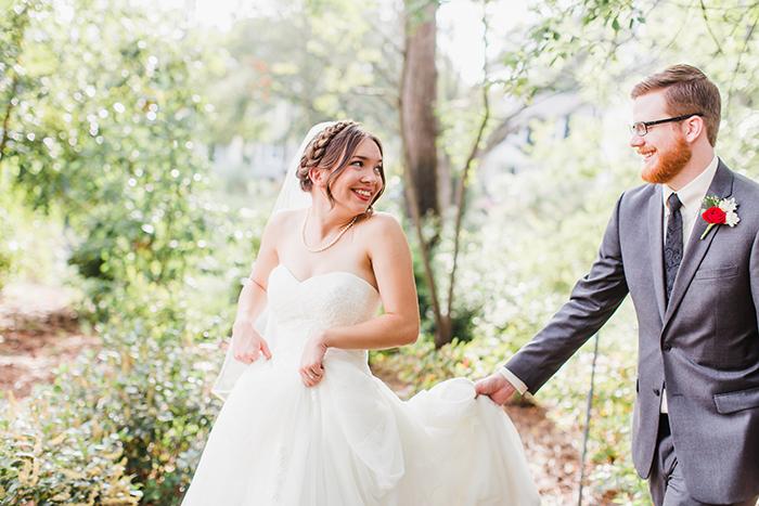 Beautiful romantic summer wedding bride and groom photo