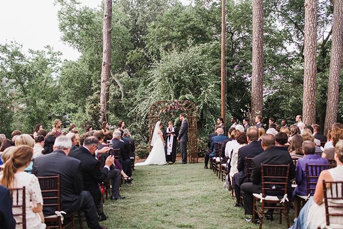 Outdoor rustic summer wedding ceremony