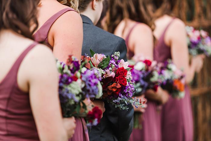 Summer wedding ceremony bridesmaids photo