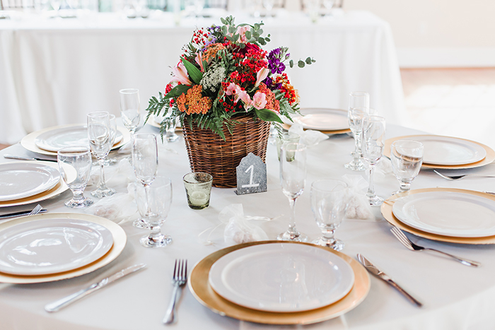 Beautiful rustic wedding centerpiece basket