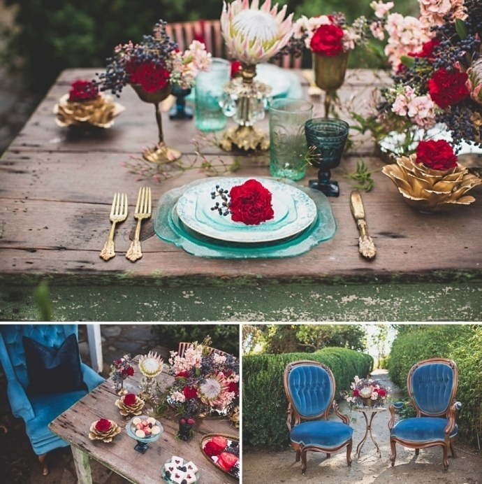 Gorgeous navy and marsala wedding color decor