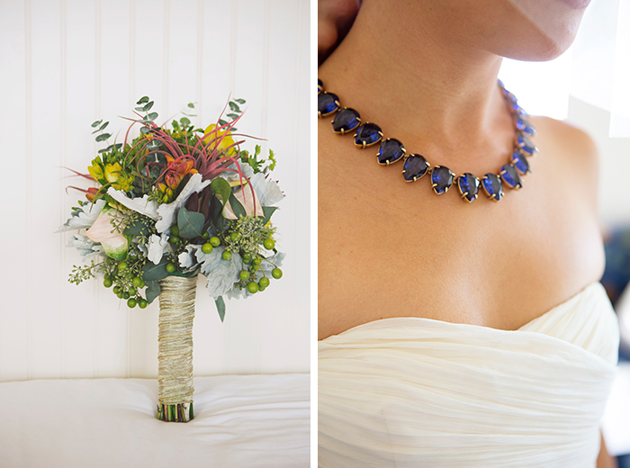 The bride's must-haves: a gorgeous flower bouquet and statement neckalce