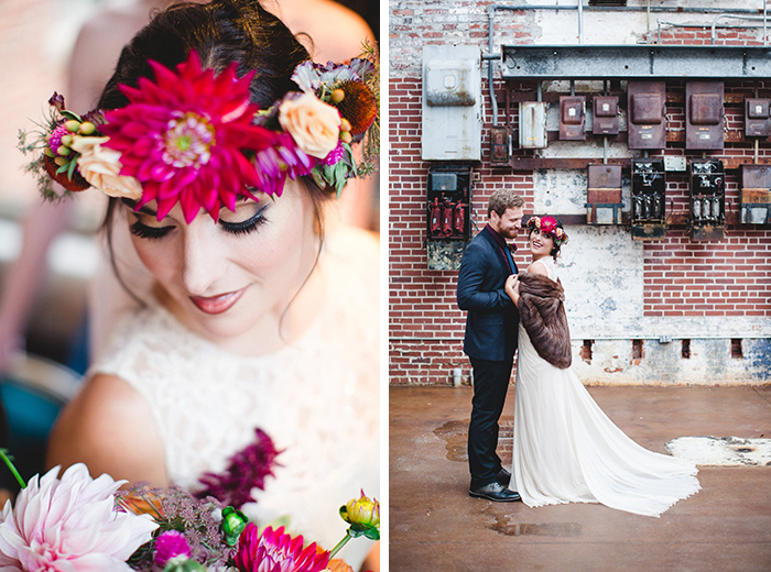 Gorgeous boho bride, with the prettiest dahlia flower crown!