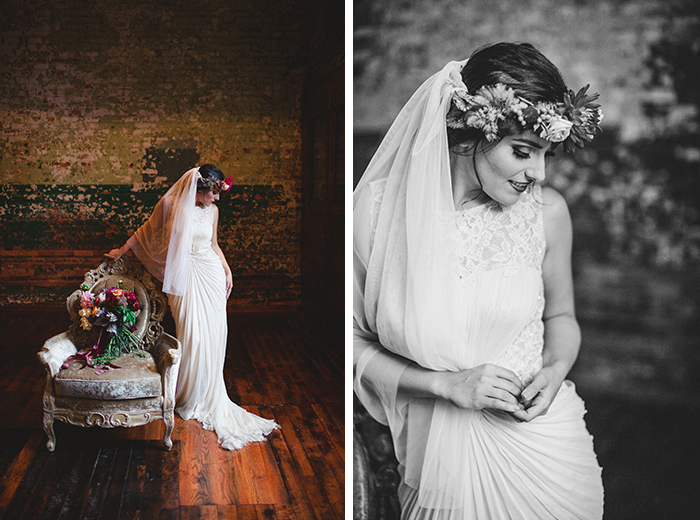 Stunning romantic wedding dress and lots of pretty berry colored flowers