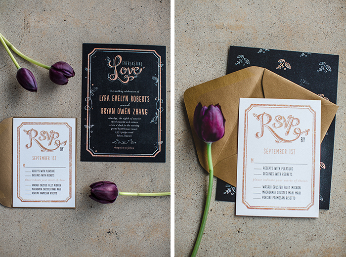 This dark and romantic wedding invitation is the tops!
