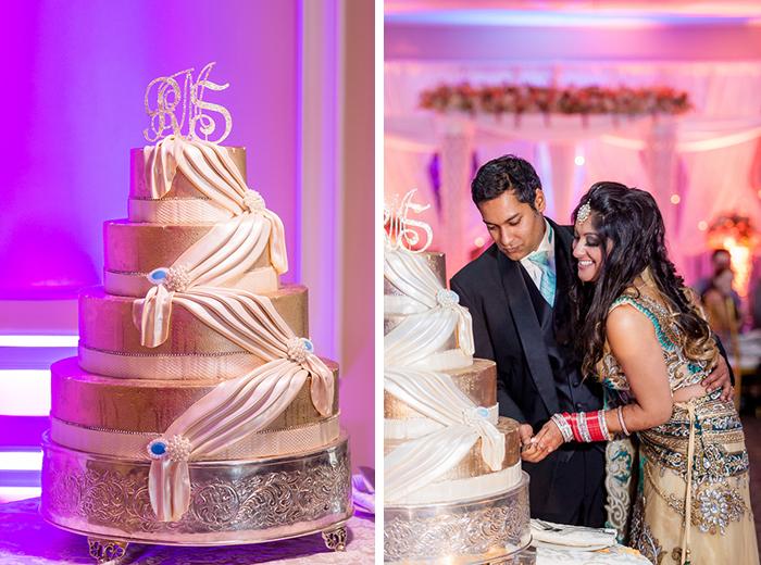 Cake cutting at an Indian wedding reception