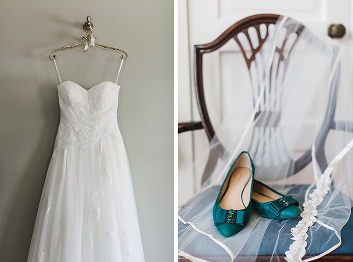 wedding dress and teal shoes anne marie akins photography