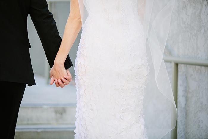 Beautiful ruffled wedding dress