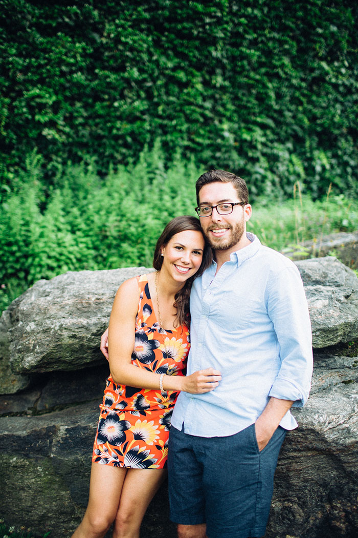 Adorable Central Park engagement session with casual style and a puppy!