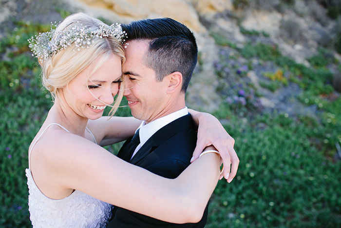 Gorgeous chic bride and groom wedding photo