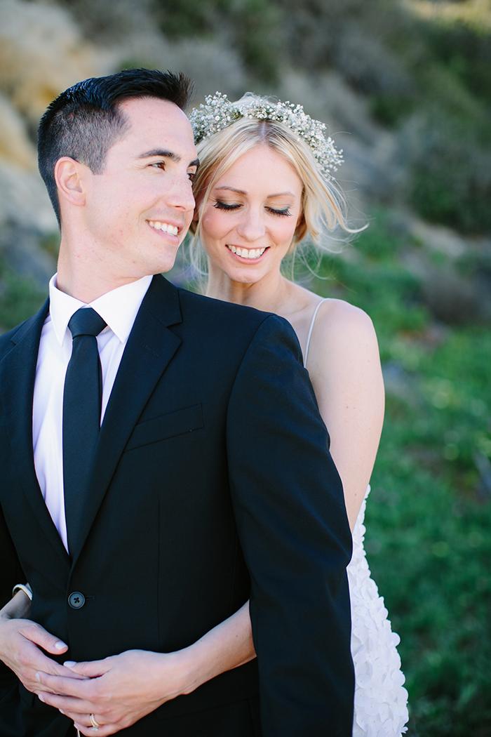 Sweet summer bride and groom photo