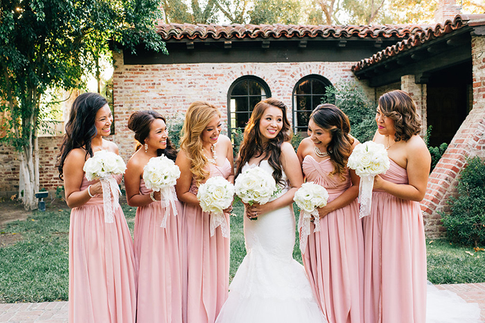 Bridesmaids in pink and white
