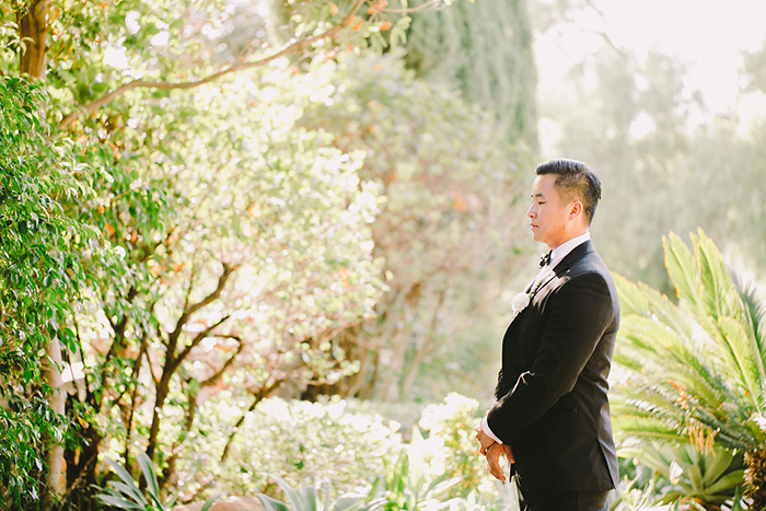 First look wedding photo. So sweet and romantic!
