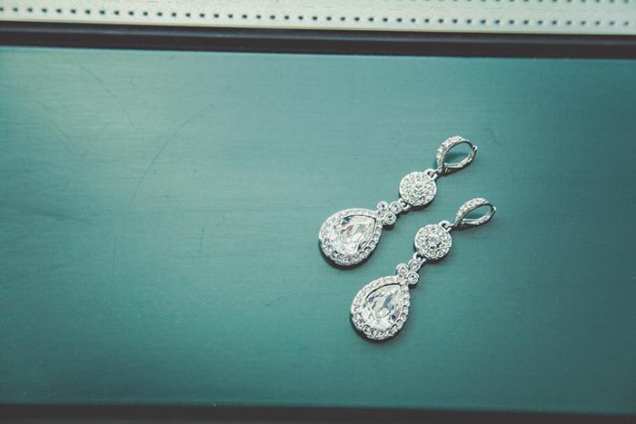 Simple crystal drop earrings for the bride