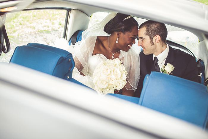The bride and groom in their getaway car!