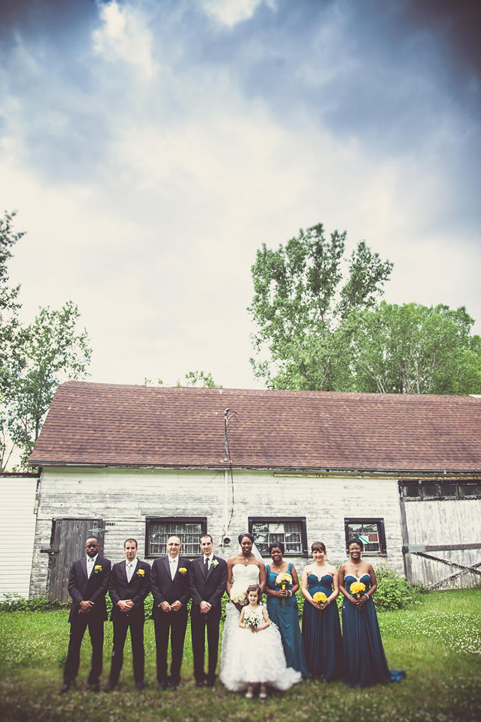 Rustic bridal party photo