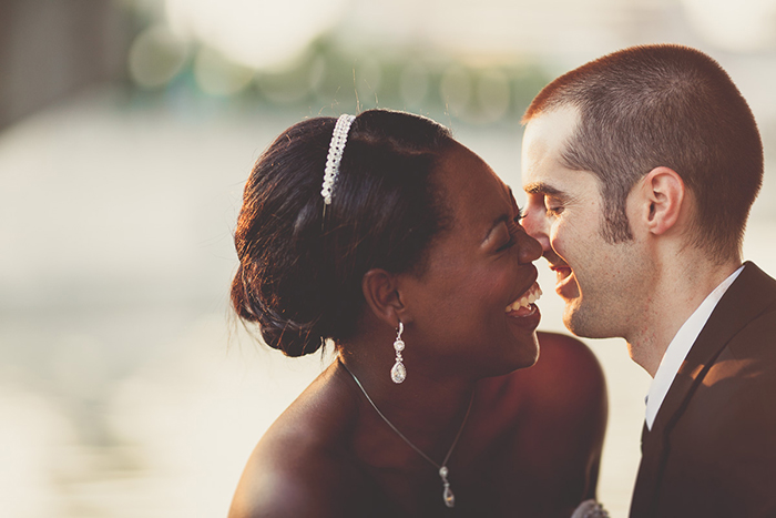 Adorable wedding day photo of the bride and groom