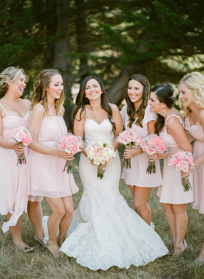 Pink mismatched bridesmaid dresses