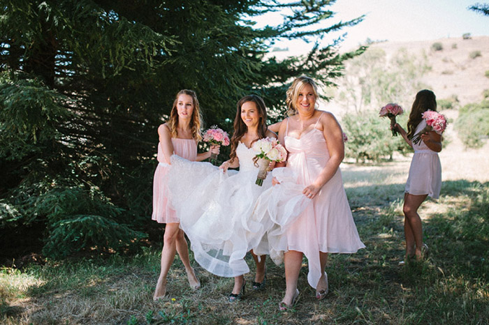 pink bridal party wedding photo