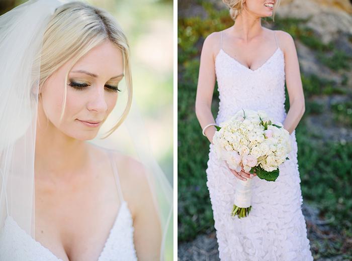 Beautiful bride with a ruffled wedding dress