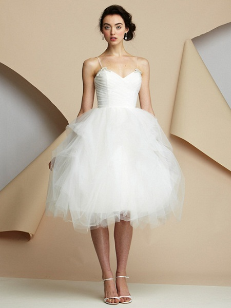 Our five favorite tea length wedding dresses inspired by glees very modest layer pleated tulle tea length wedding dress beautiful wedding dress sweetheart wedding dress wedding party blog junglespirit Images