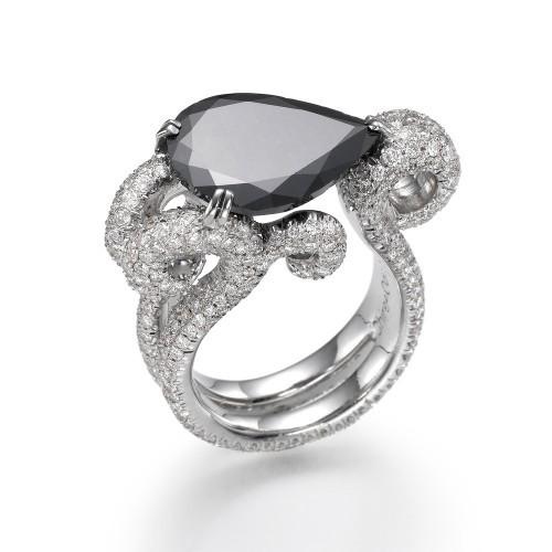 Etsy Engagement Ring Oceania Pear Shaped Black Enagement Ring Unique Wedding  Ring Wedding Party Blog