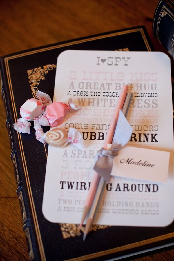 I SPY game at wedding wedding party blog