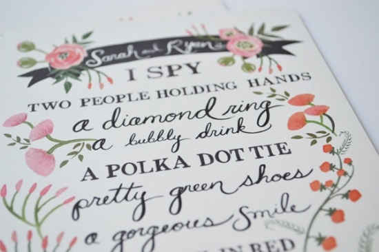I SPY wedding game card wedding party blog