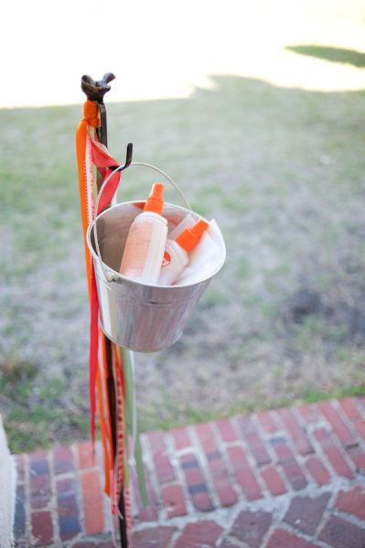 bug spray and suncreen for wedding bug spray station at wedding summer wedding ideas wedding party blog