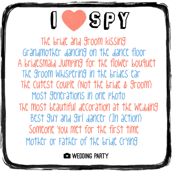 I spy wedding game keep your guests entertained with this unique i spy wedding game i spy wedding party version games for weddings i spy list for wedding reception wedding party app wedding party blog maxwellsz