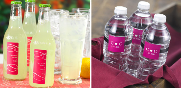 lemonade and water for weddings personalized water bottles personalized lemonade bottles for wedding reception summer wedding tips wedding party blog