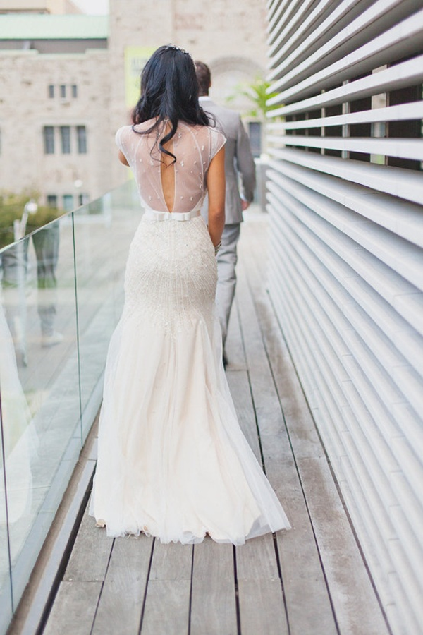 Jenny Packham Backless modest wedding dress low back bride bridal perfect sheer netting open back statement sexy wedding dress