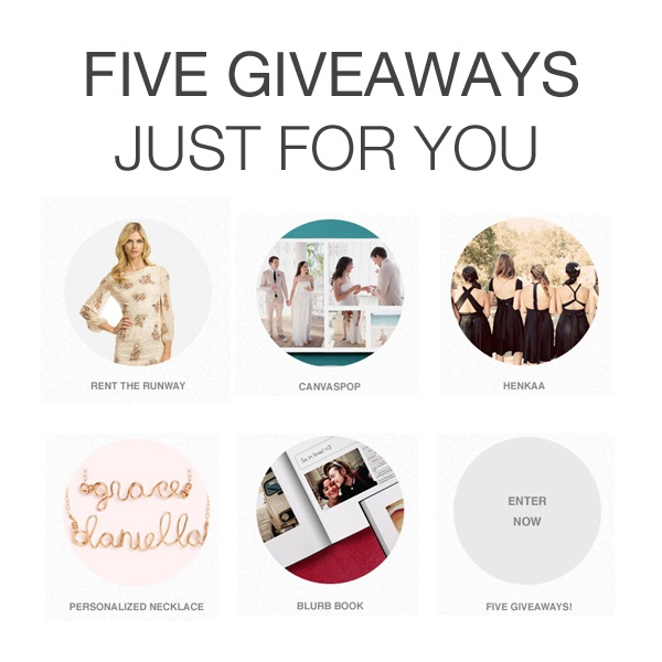 We have 5 awesome giveaways just for you wedpics blog wedding party app wedding party blog wedding app personal wedding app wedding party giveaway rent the runway giveaway canvaspop giveaway junglespirit Images