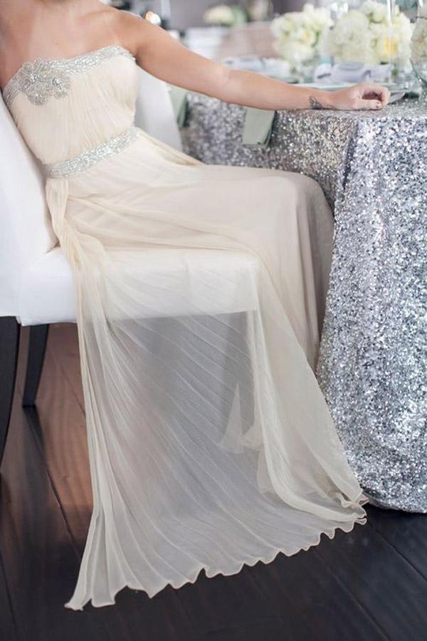 peach and sequin wedding dress