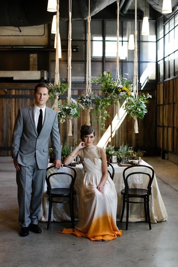 orange ombre for a unique wedding dress